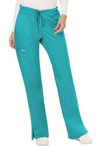 Cherokee Workwear Mid Rise Moderate Flare Drawstring Pant  Petite WW120P Teal Blue TLB