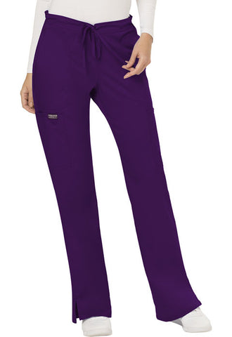 Cherokee Workwear Mid Rise Moderate Flare Drawstring Pant WW120 Eggplant EGG