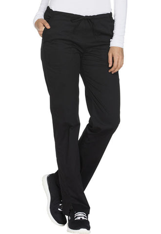 Cherokee Workwear Mid Rise Straight Leg Drawstring Pant  Tall WW130T Black BLKW