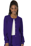 Cherokee Workwear Snap Front Warm-up Jacket WW310 Grape GRP