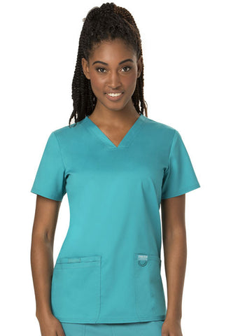 Cherokee Workwear V-Neck Top WW620 Teal Blue TLB