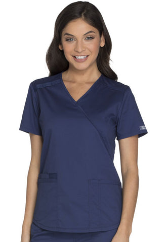 Cherokee Workwear Mock Wrap Top WW640 Navy NAVW