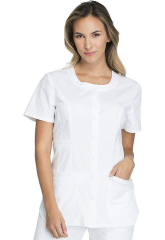 Cherokee Workwear Round Neck Top WW683 White WHTW