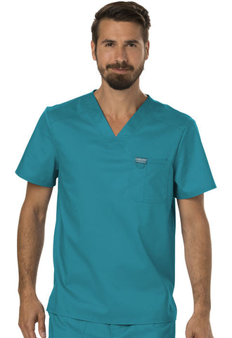 Cherokee Workwear Men's V-Neck Top WW690 Teal Blue TLB