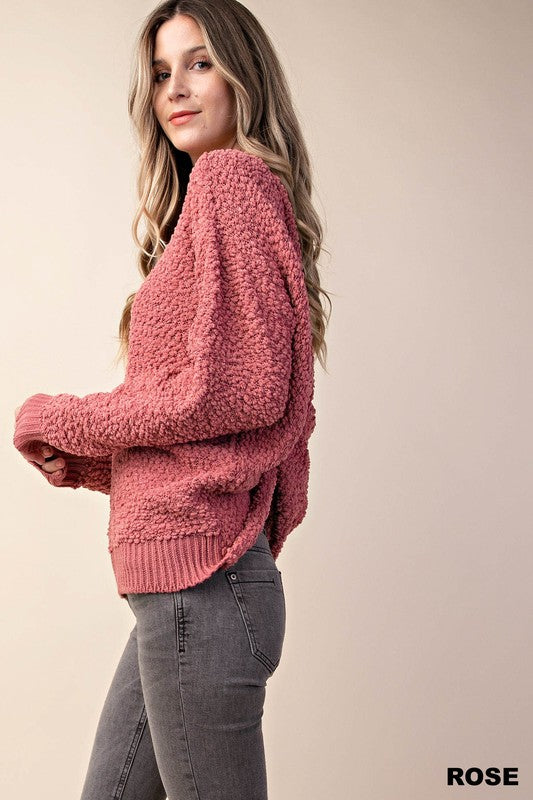 Mabel Rose Fuzzy Twisted Back Sweater
