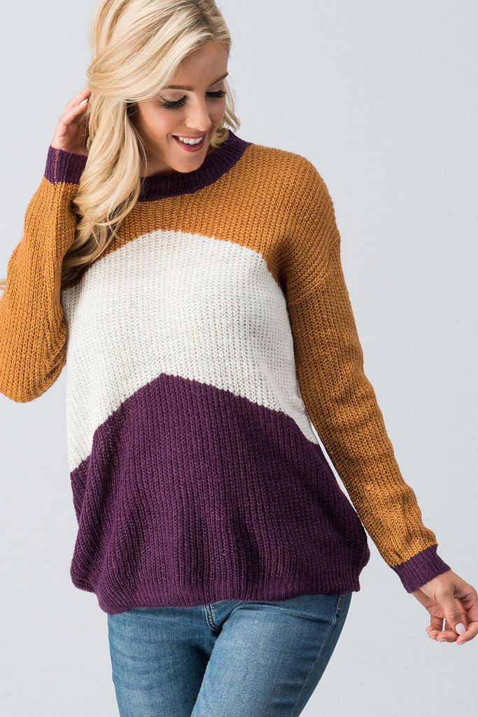 Rain Color Block Pullover Sweater