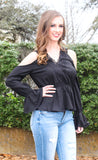 Peplum Cold Shoulder Top
