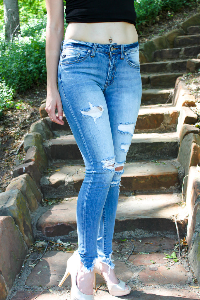 Distressed Ankle Crop Jeans