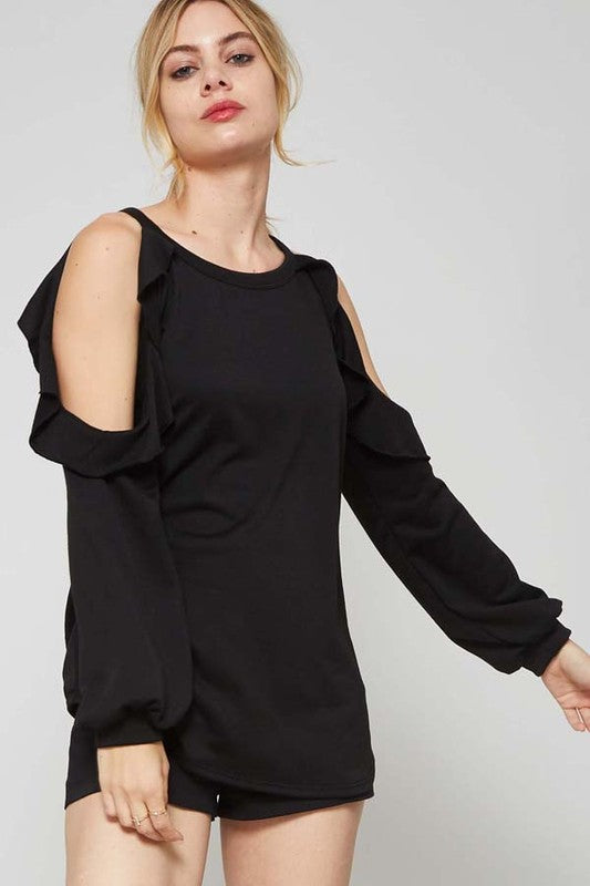 Hailey Black French Terry Top