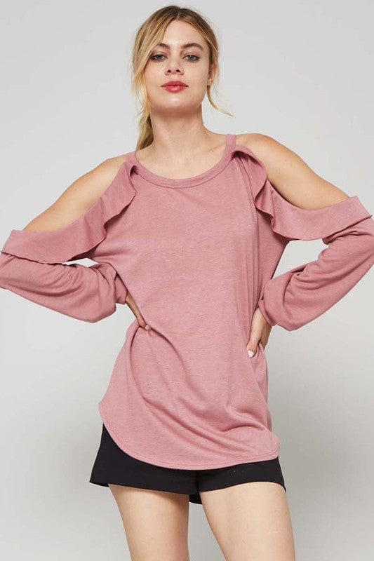 Hailey Mauve French Terry Top