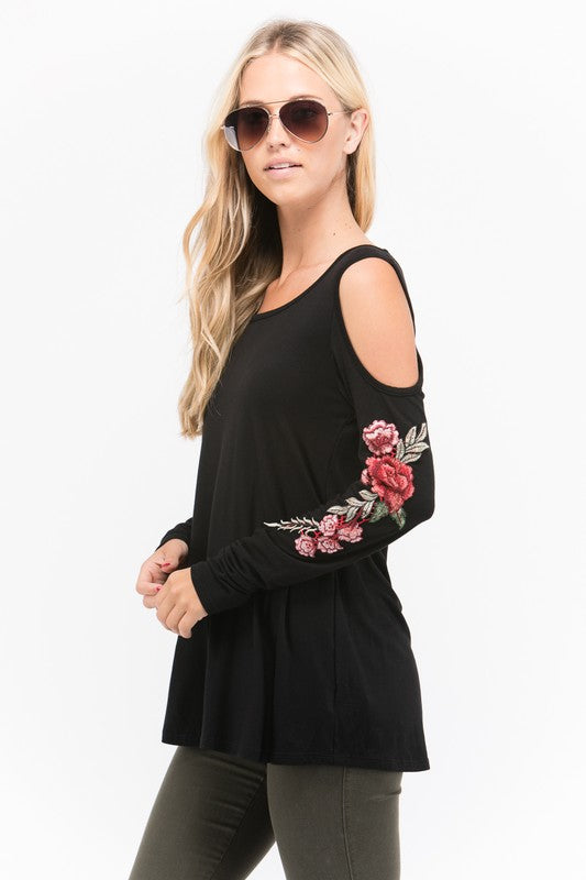 Black Flower Embroidery Top