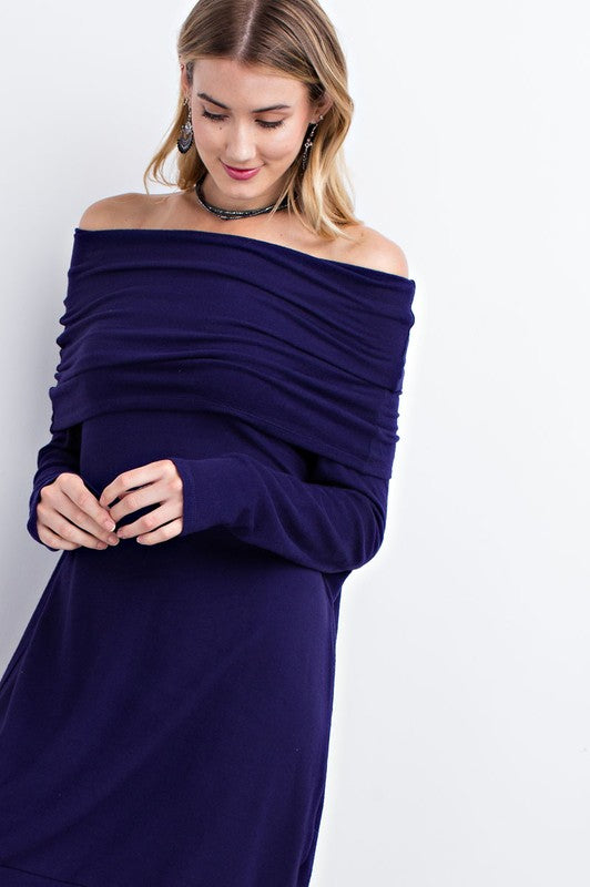 Blue Violet Off Shoulder Dress