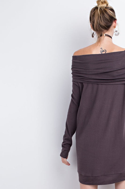 Charcoal Off Shoulder Dress