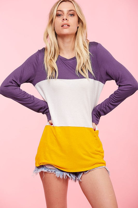Casual Color Block Top