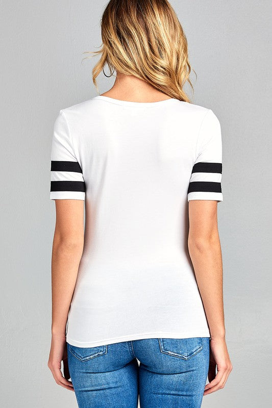 White Double Stripe Sleeve Top