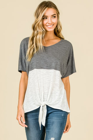 Double Stripe Charcoal Top