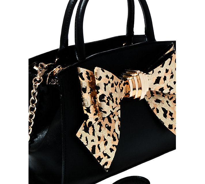 BOW YOU SEE IT LEOPARD REMOVABLE BOW SATCHEL