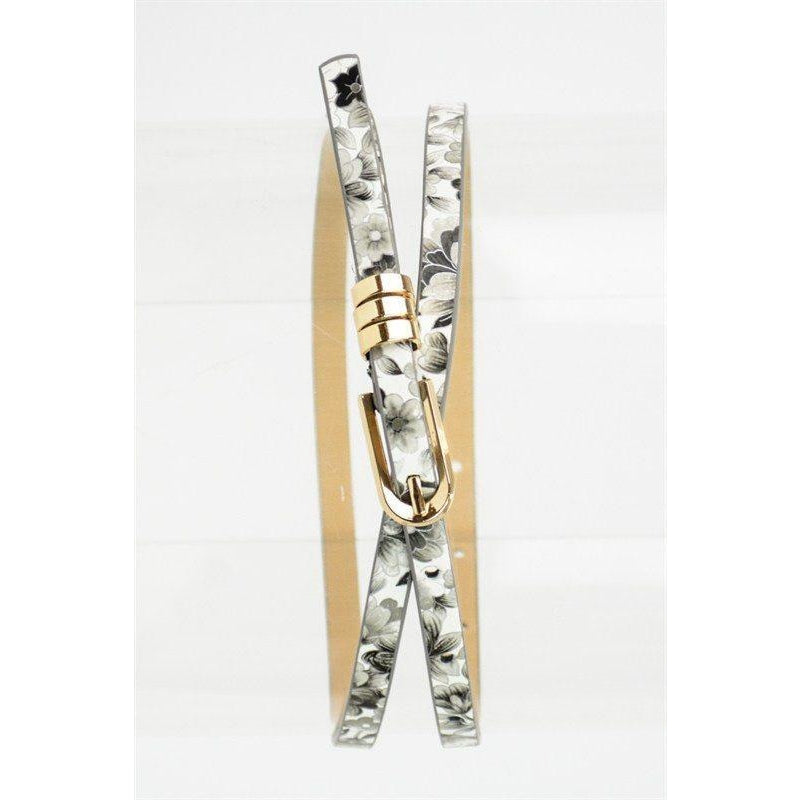 Accessories - Skinny Floral Belt