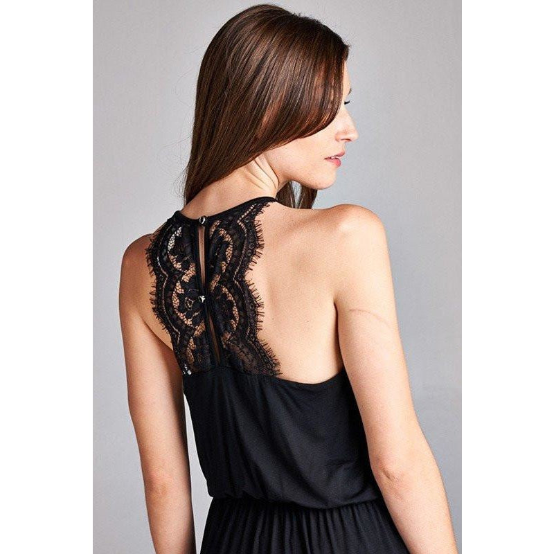 the back of a maxi dress for a woman