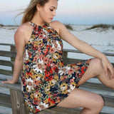 Dresses - Navy Floral Print Dress
