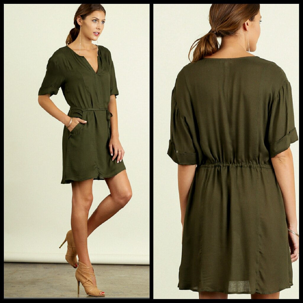 Dresses - Olive Shift Dress