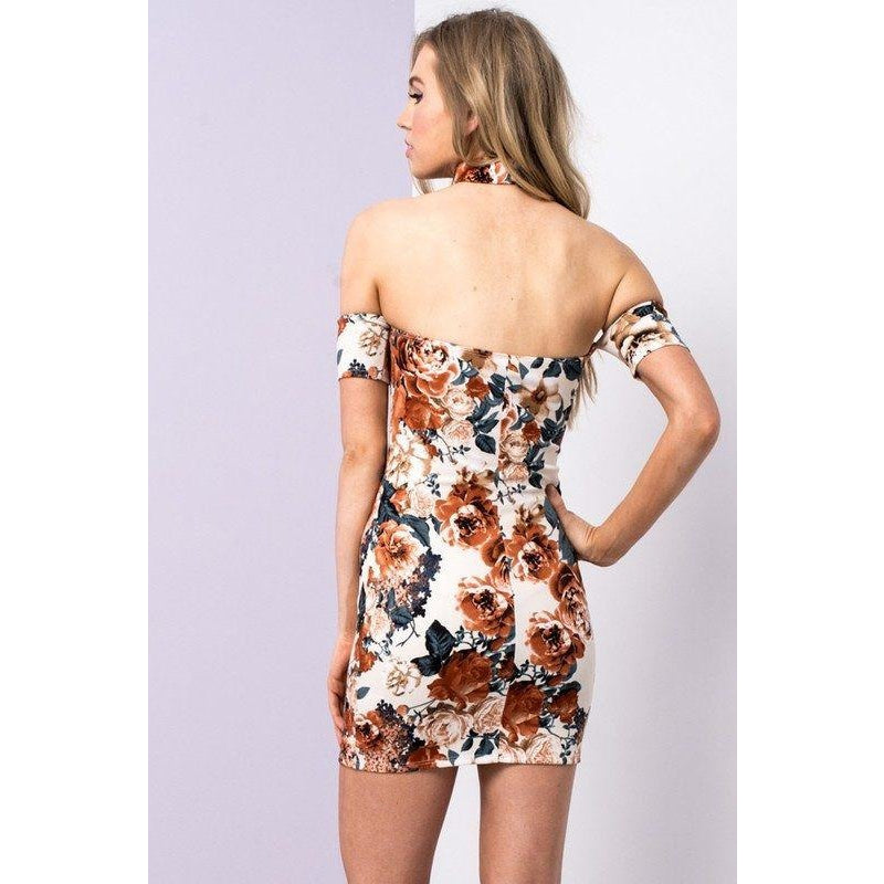 Dresses - Sexy Floral Dress With Choker