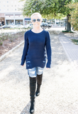 Baylee Navy Frayed Sweater