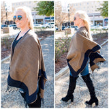 Navy Color Block Poncho