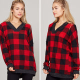 V-Neck Plaid Print