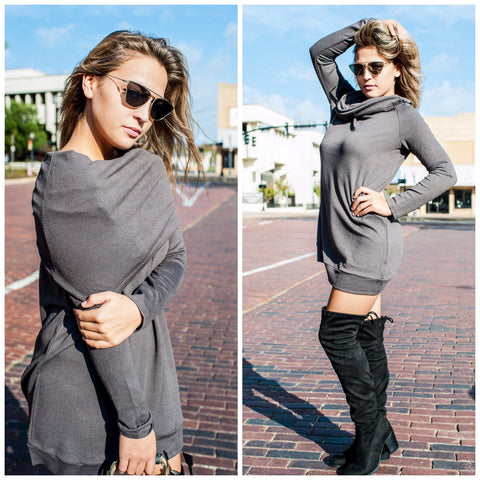 Gray Long Sleeve Dress