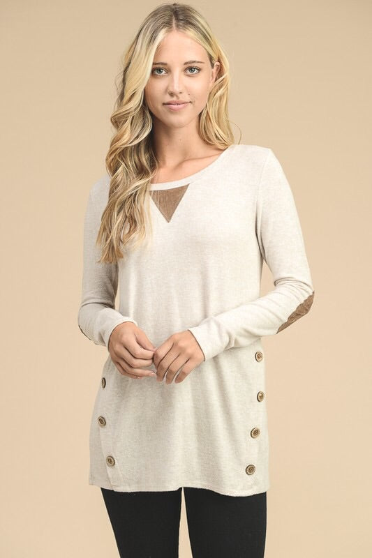 Tunic Top With Suede Patch