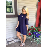 Keyhole Navy Dress