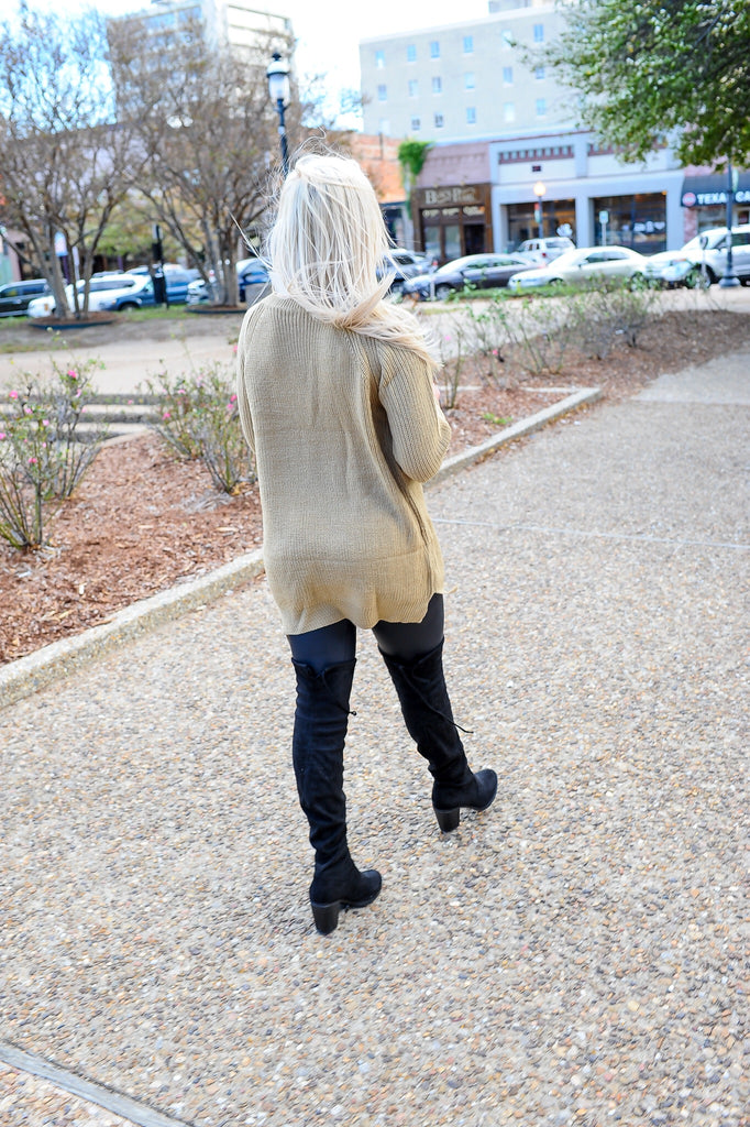 Lace-Up Side Sweater Dress