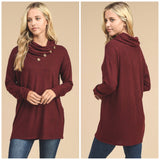 Burgundy Neck Button Top