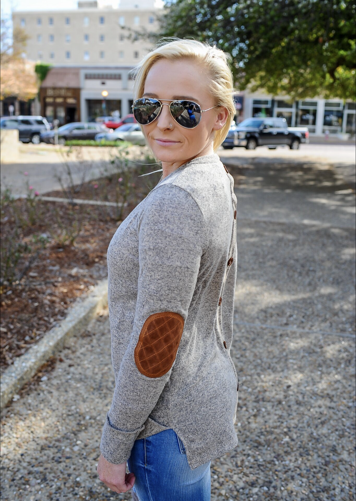 Mocha Suede Patch Top
