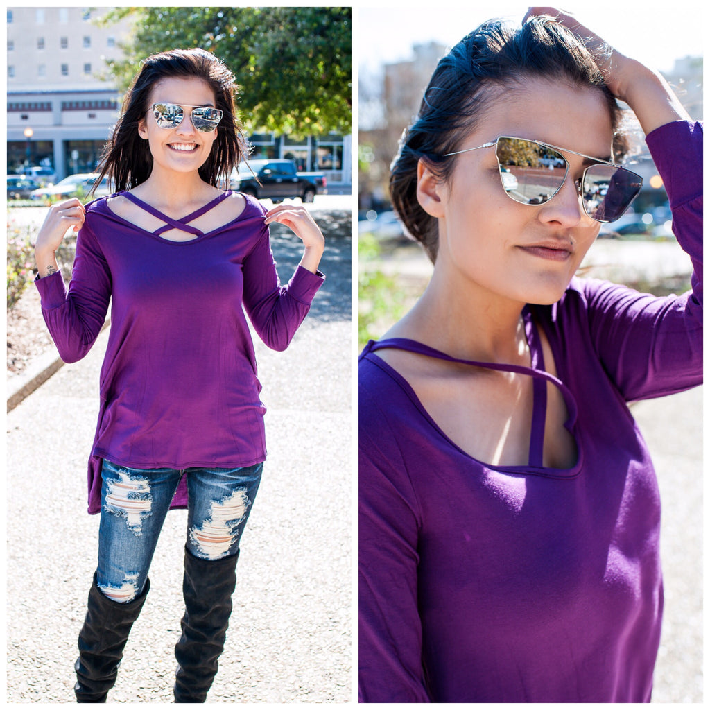 Long Sleeve Criss Cross Top