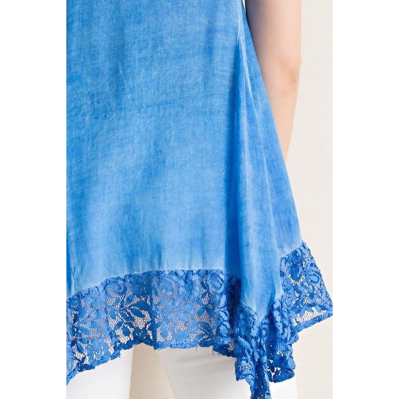 A closer view of a blue lace tank top for women or juniors.