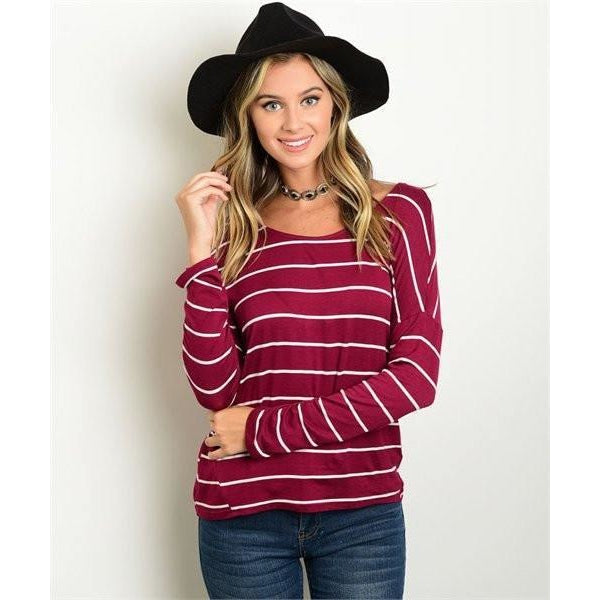 Tops - Burgundy Striped Top