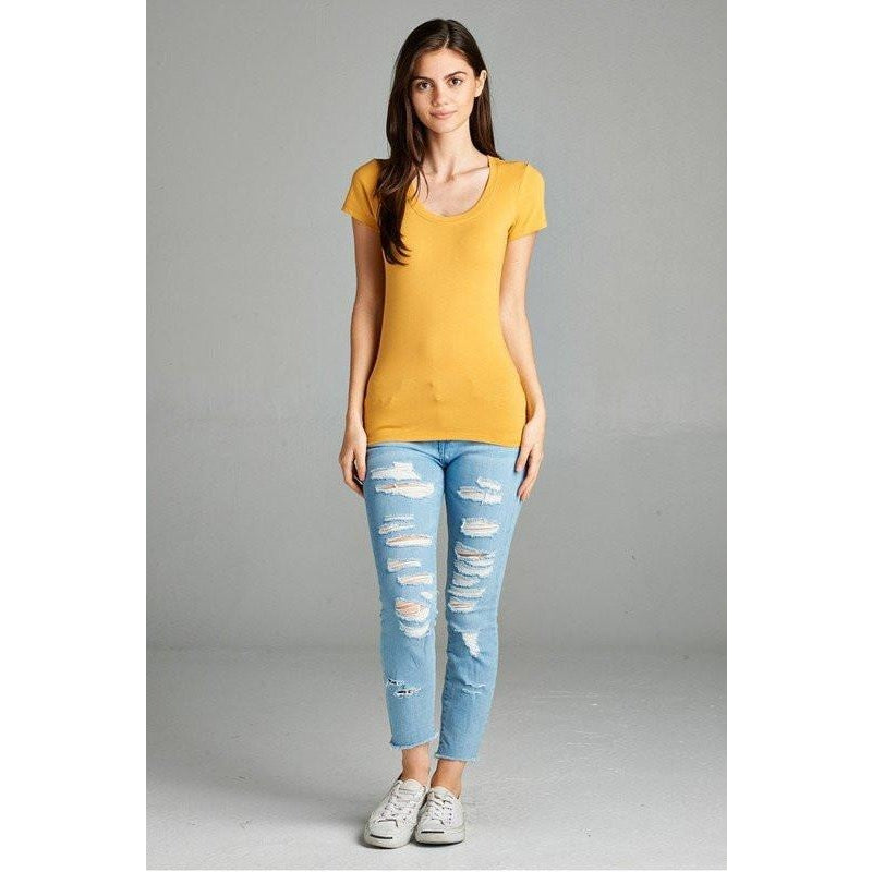 Tops - Yellow Scoop Neck Tee