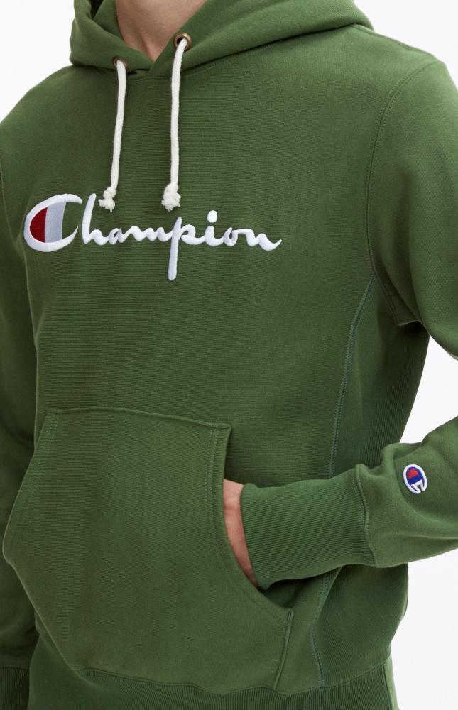 5d7a1713 Champion Reverse Weave Logo Script Hoodie - Forest Green - First Clothing