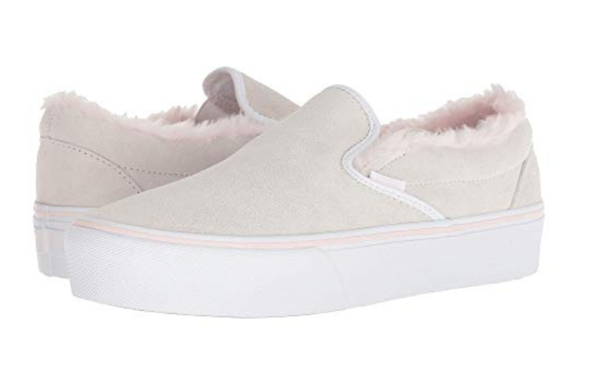 aa6ee66a05e Vans Women Classic Slip-On Platform Suede Sneakers, True White/Pink - First  Clothing