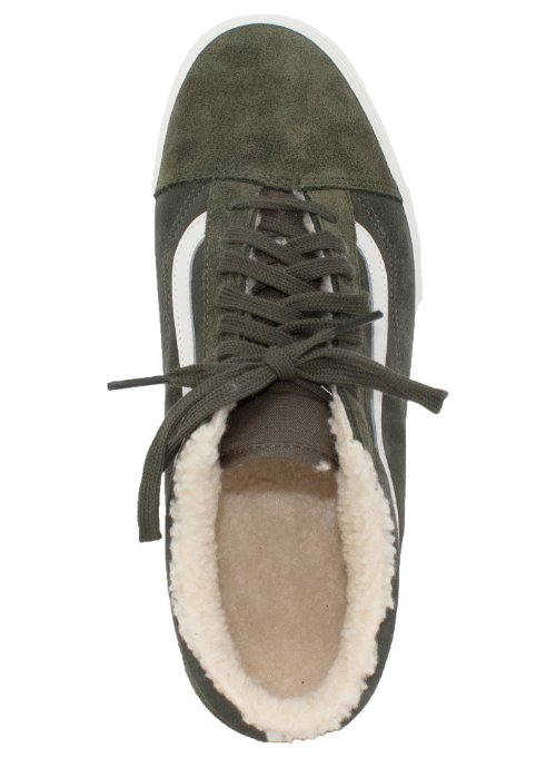 1508440d5ba VANS Sherpa Suede Old Skool Classic Sneakers -Olive - First Clothing