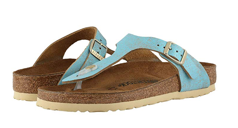 Birkenstock Gizeh Women's Leather Regular Fit Sandal, Washed Metallic Aqua