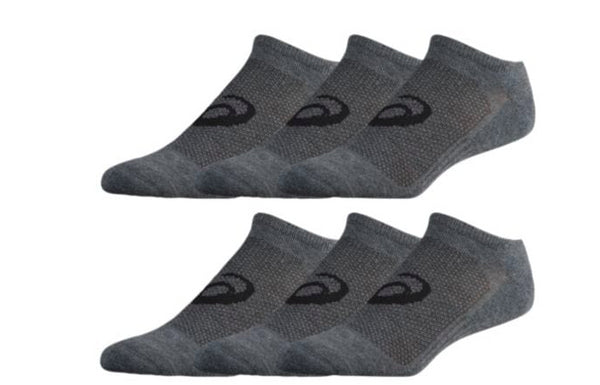 cff7c780d42b Asics Unisex Invasion No Show Socks 6 Pack - Grey Heather Iron - First  Clothing