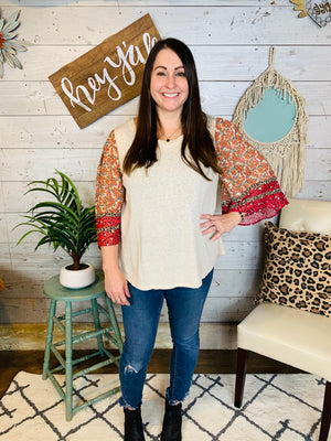 Linen Blend Floral and Animal Top