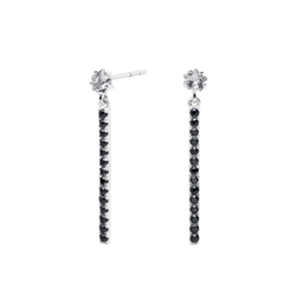 Black Tara Crystal Drop Earrings - Silver