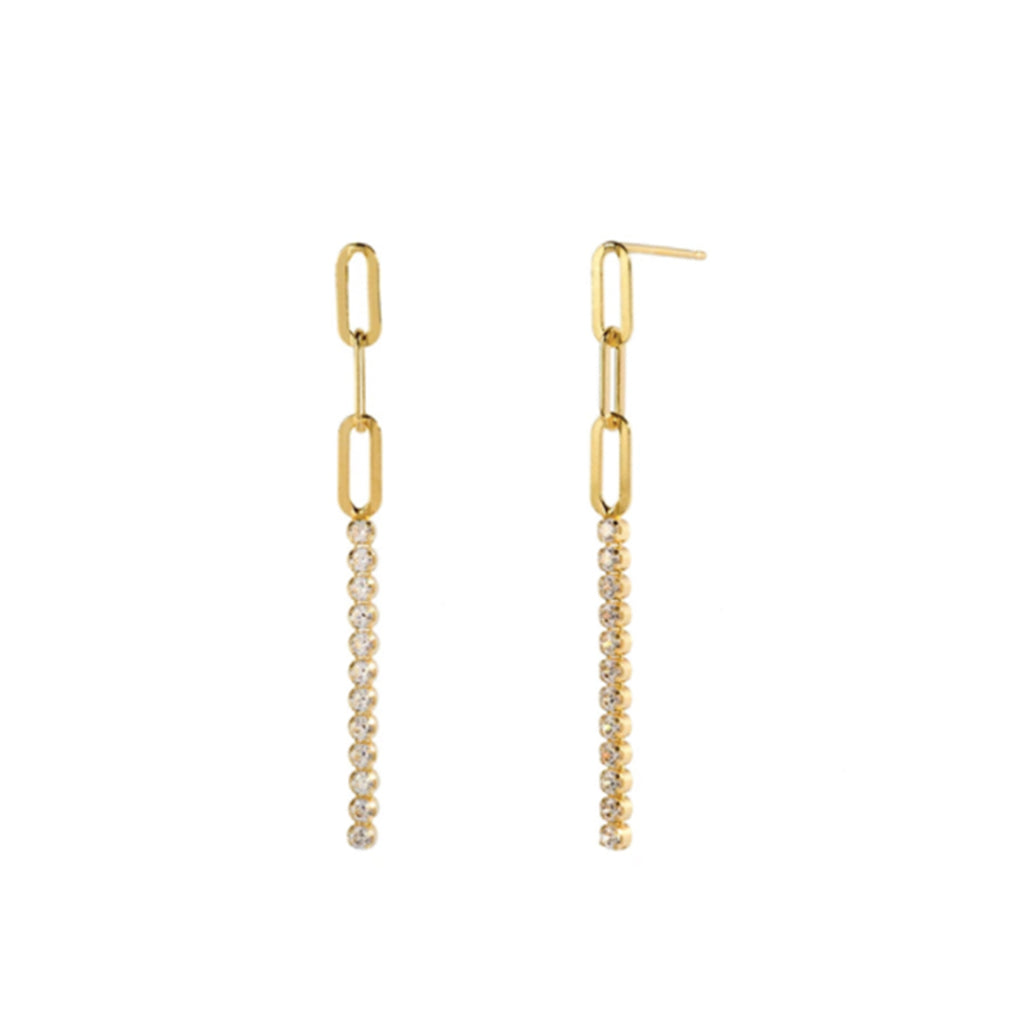 Kira Kira Crystal Drop Earrings - Gold