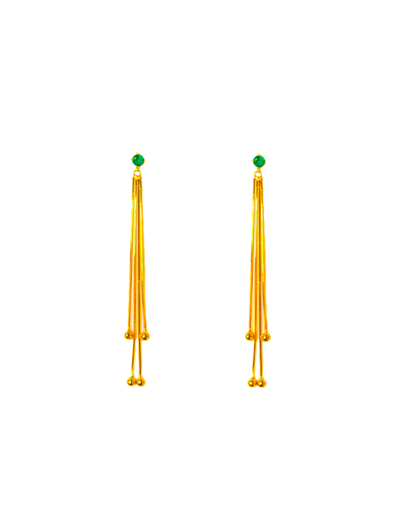 Alba Swing Drop Earrings - Emerald Green