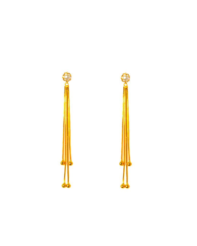Alba Swing Drop Earrings - Pearl Stud