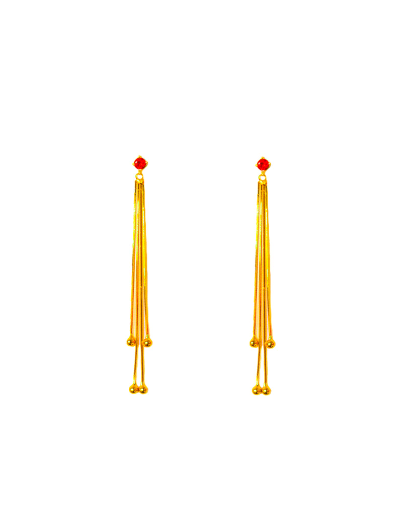 Alba Swing Drop Earrings - Cherry Red